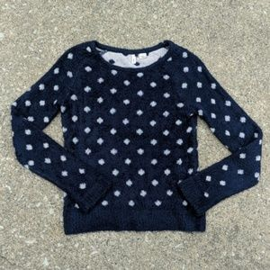 Anthro Moth Navy Sweater w/ Pale Pink Polka Dots
